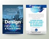 Blue Brochure cover Flyer Poster design Layout vector template. Abstract gradient rounded shape graphic element with space for photo background.