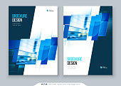 Brochure template layout design. Corporate business annual report, catalog, magazine, flyer mockup. Creative modern bright concept with square shapes.