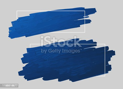 Blue brush stroke and line frame with copy space vector illustration