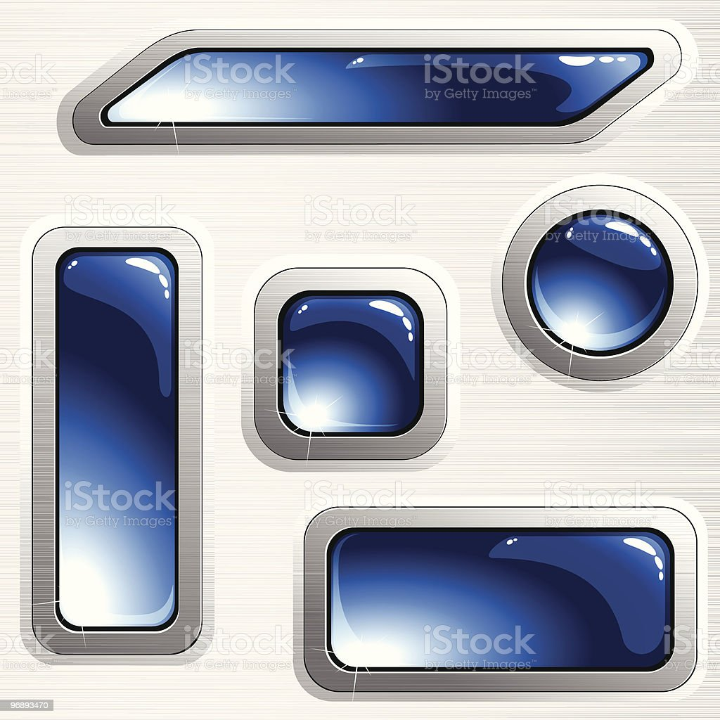 Blue brushed steel banners and buttons royalty-free stock vector art