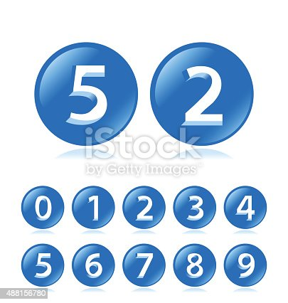 istock Blue Bubble Numbers with Cavalier Perspective on White Background. 488156780