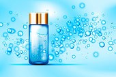 Blue bubbles and parfume glass bottle on abstract background. Suitable for beverages, cosmetics, healthcare concepts. Vector illustration