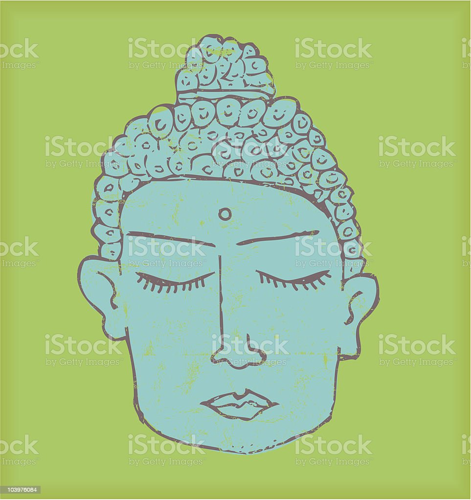 Blue buddha vector art illustration