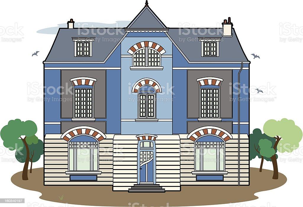 Blue building royalty-free stock vector art