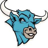 cartoon blue bull head