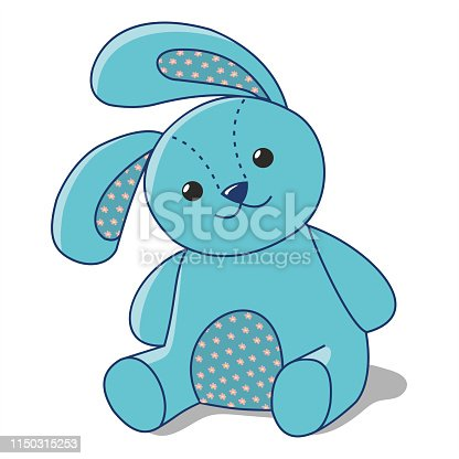 istock blue Bunny of fabric 1150315253