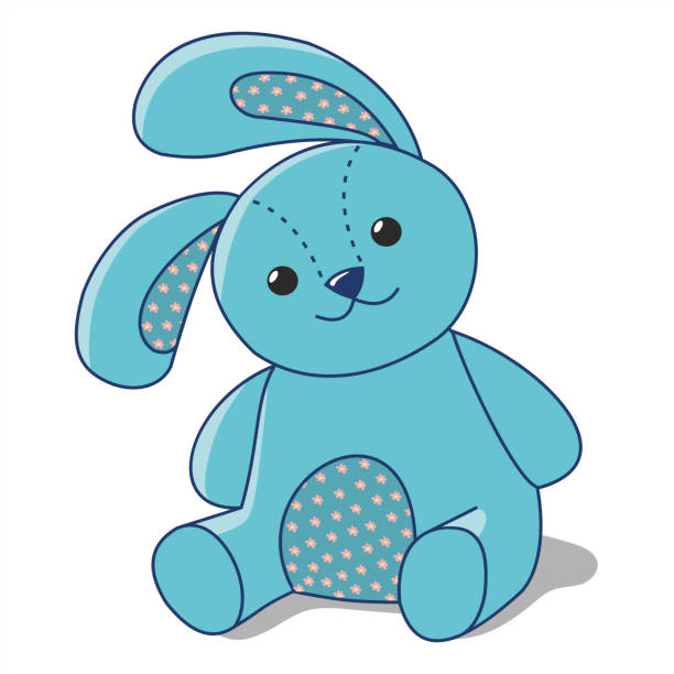blue Bunny of fabric blue Bunny of fabric on a white background, stuffed toy stuffed stock illustrations