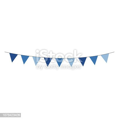 Shades of blue bunting banner hung on gray string