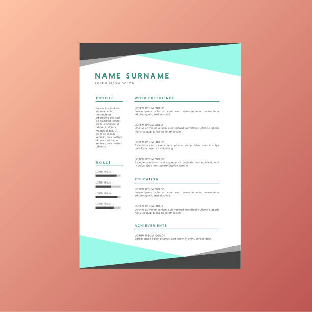 blue business corporate identity resume cv vector design - resume templates stock illustrations