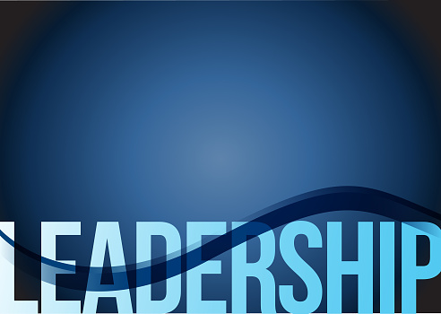 Blue business leadership background with waves illustration