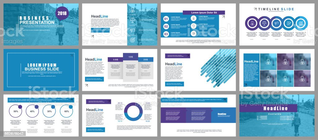 Blue business presentation slides templates from infographic elements vector art illustration