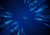 istock Blue business technology quadrilateral background 1271658573