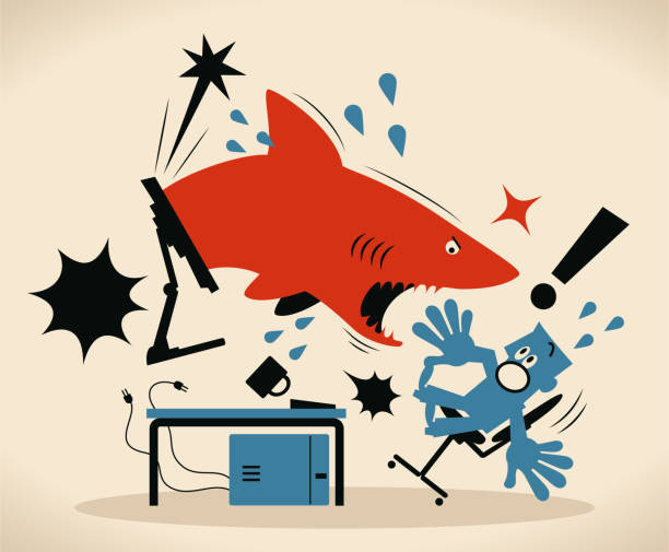 Blue businessman that is using computer is getting attacked by a shark that springs out of monitor vector art illustration