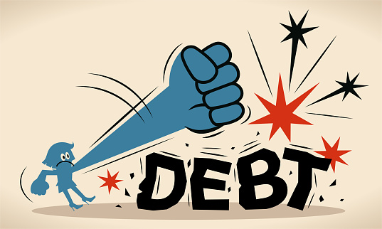 Blue businesswoman is trying to crush and smash the heavy debt burden; Breaking the debt cycle