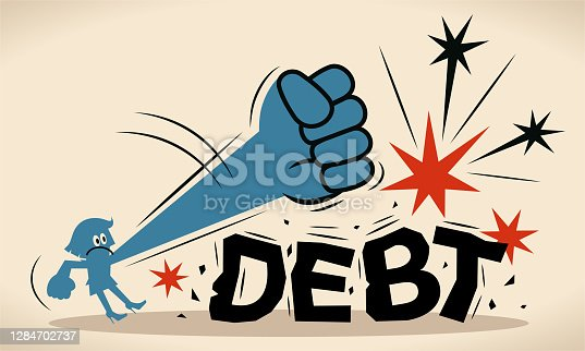 istock Blue businesswoman is trying to crush and smash the heavy debt burden; Breaking the debt cycle 1284702737