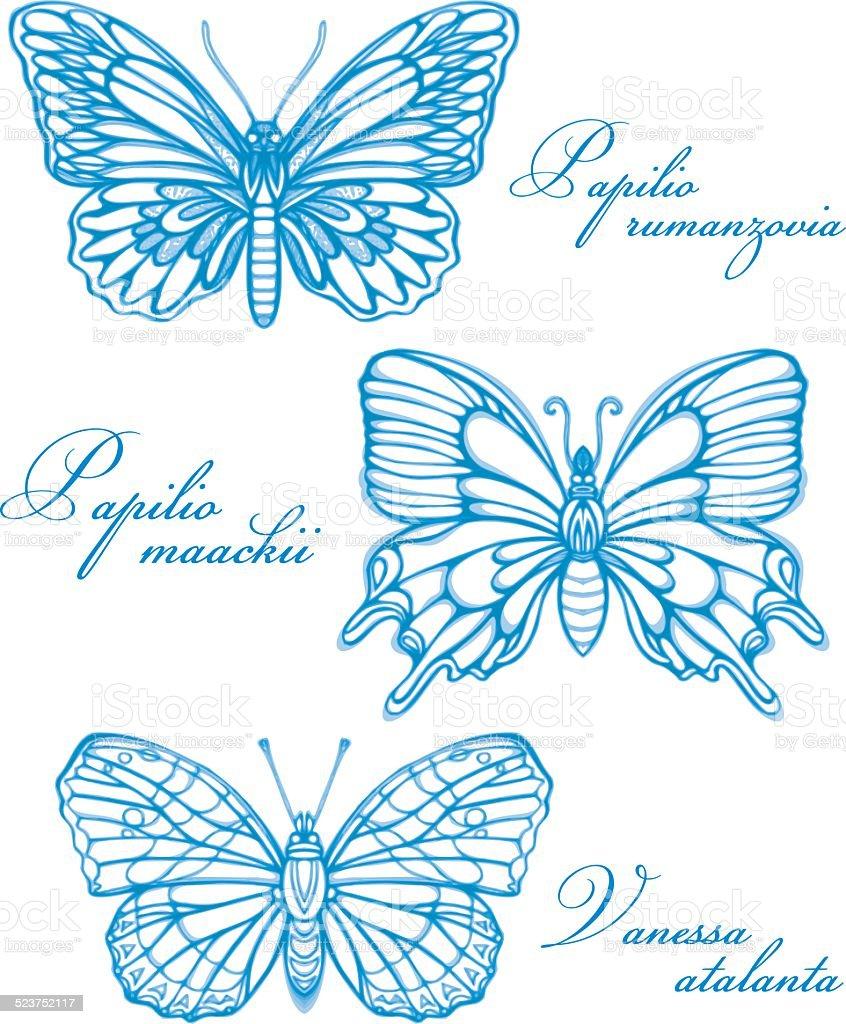 Blauen Schmetterlinge in Aquarell Konturzeichnung Imitation – Vektorgrafik