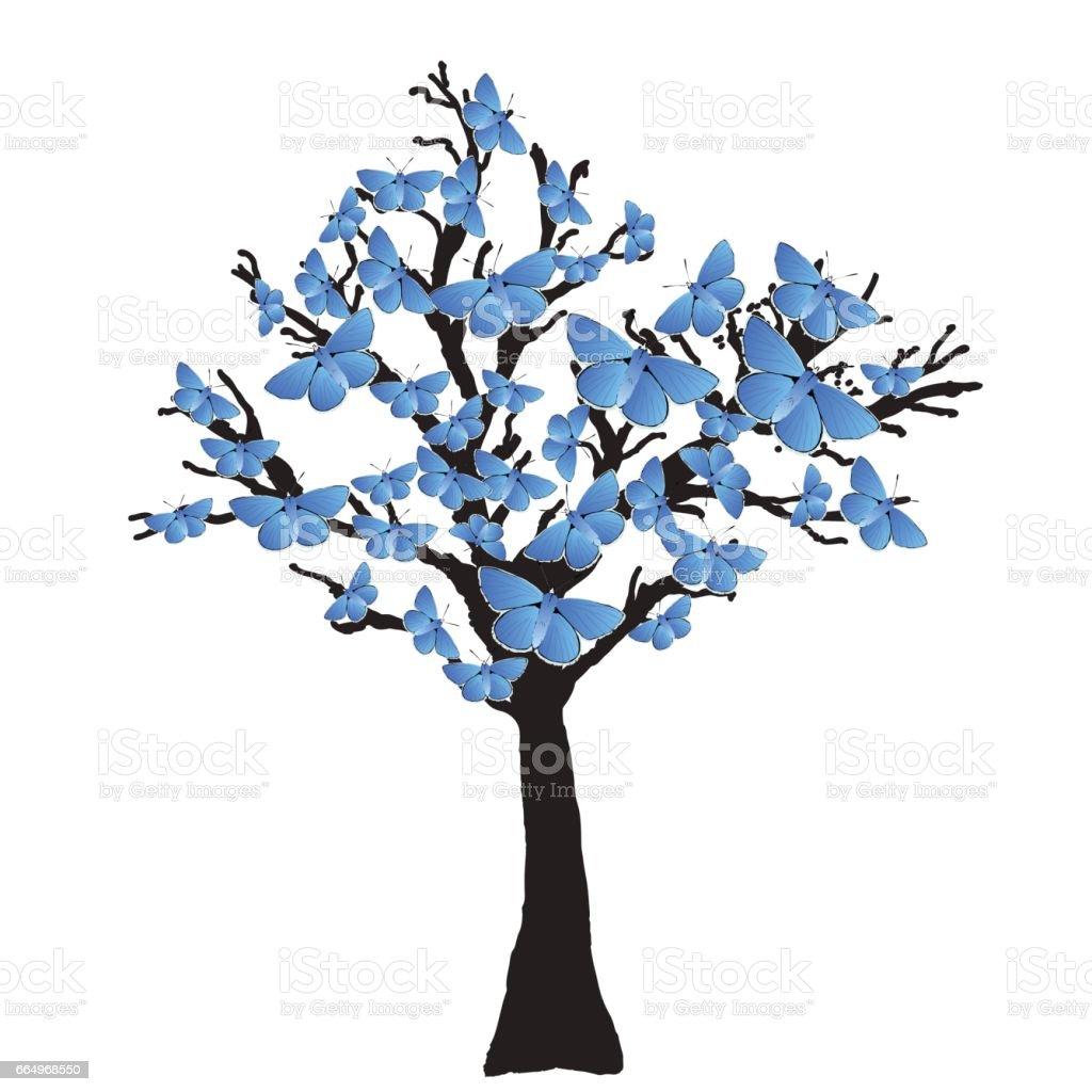 Blauer Schmetterling Baum – Vektorgrafik