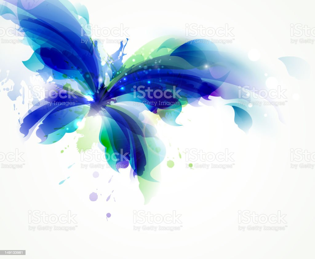 Blue  butterfly vector art illustration