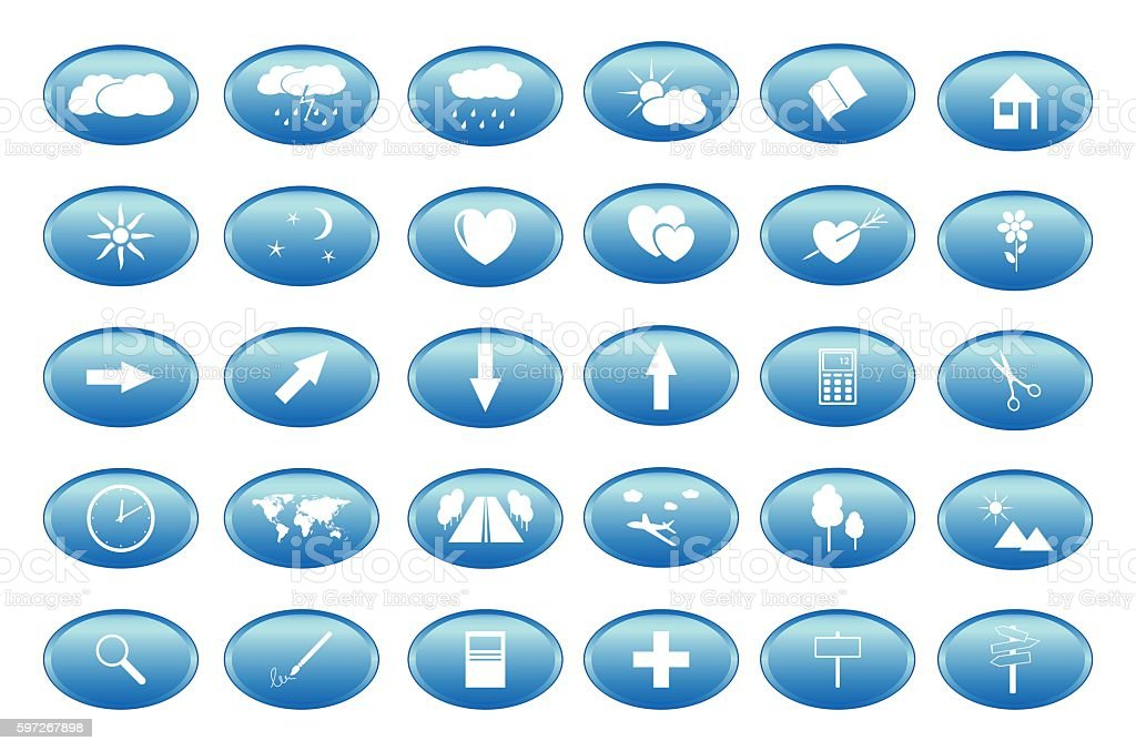 blue buttons with white icons - vector Lizenzfreies blue buttons with white icons vector stock vektor art und mehr bilder von baum