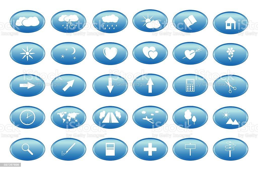 blue buttons with white icons - vector blue buttons with white icons vector – cliparts vectoriels et plus d'images de amour libre de droits