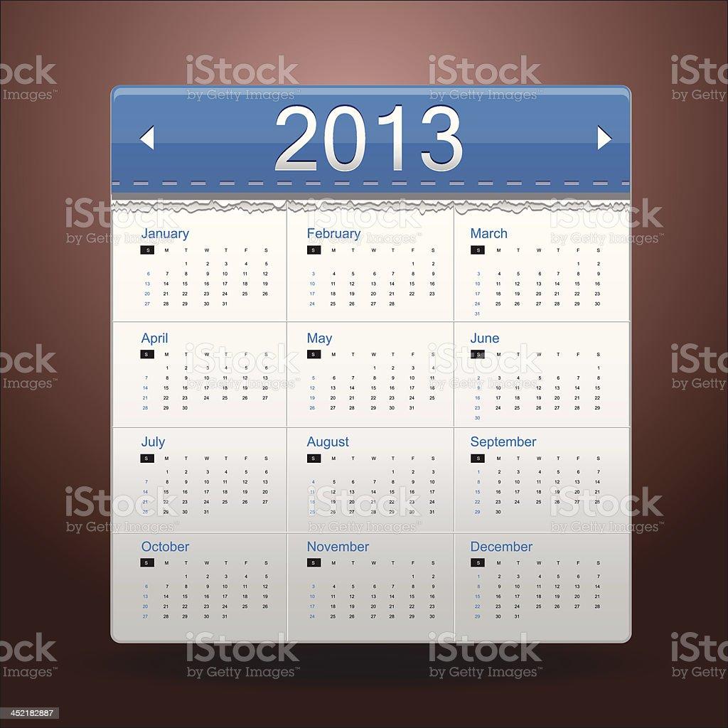 Blue Calendar 2013 vector art illustration