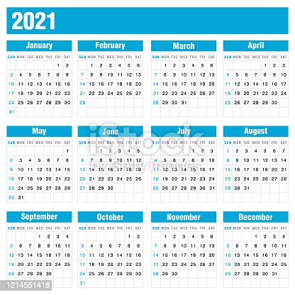 istock 2021 Blue Calendar On White Background Stock Vector Illustration 1214551418