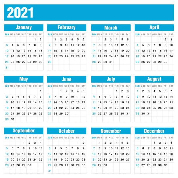 ilustraciones, imágenes clip art, dibujos animados e iconos de stock de calendario azul 2021 sobre fondo blanco stock vector ilustración - calendar