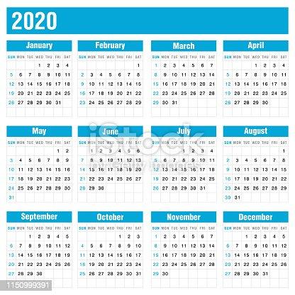 2020 vector calendar illustration on white background