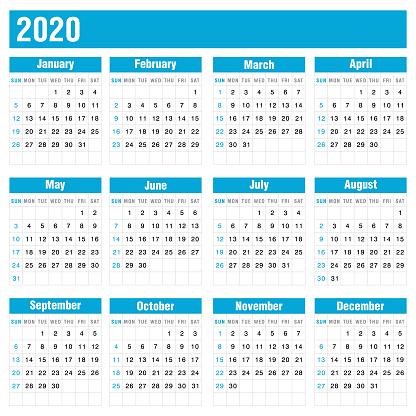 2020 Blue Calendar On White Background