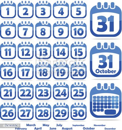 set of web icons in the form of a calendar