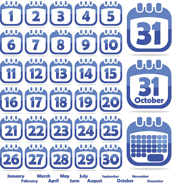 a blue calendar opened on the month of october - 18 mart stock illustrations, clip art, cartoons, & icons