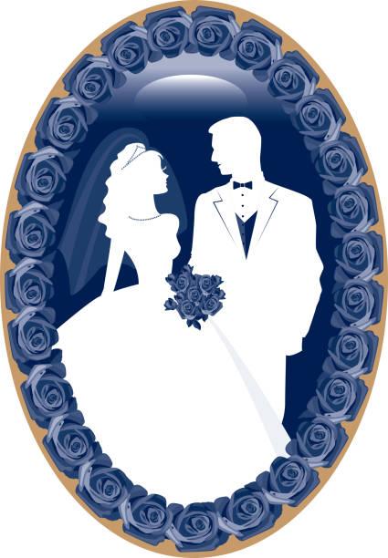 blue kamee braut und bräutigam silhouette mit rosen - hochzeitsanstecker stock-grafiken, -clipart, -cartoons und -symbole