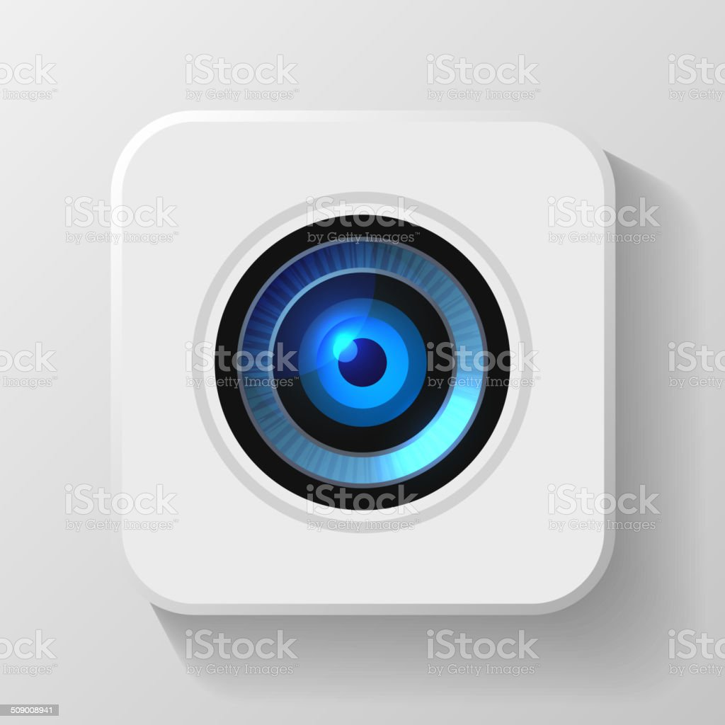Blue Camera Lens Icon on White. Vector royalty-free blue camera lens icon on white vector stock vector art & more images of camera - photographic equipment