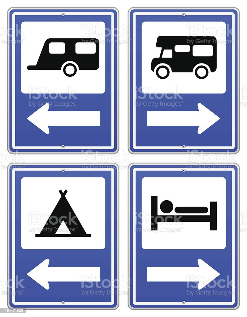 Blue Camp Sign Road sign set with arrow under RV and camper. EPS version 10 with transparency included in download. Adventure stock vector