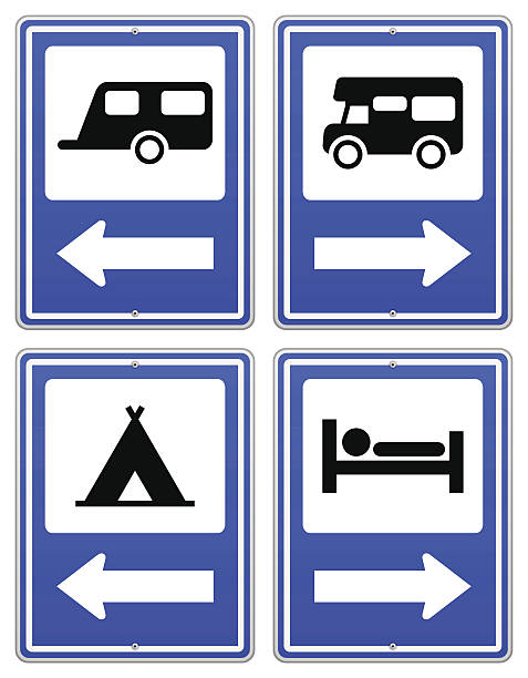 Blue Camp Sign Road sign set with arrow under RV and camper. EPS version 10 with transparency included in download. rv interior stock illustrations