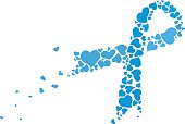 Prostate cancer ribbon awareness. Blue ribbon made of hearts vector.