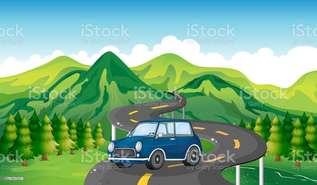 Blue car and the winding road vector art illustration