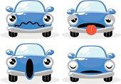 Blue car in various moods