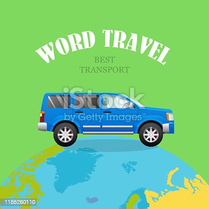 World travel. Best Transport. Blue car on planet. Green background. Travelling by four-wheeled vehicle around world. Speed jeep driving across Earth. Easy journey. Continental tourism by auto. Vector