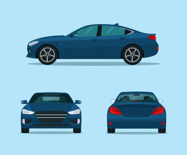 illustrazioni stock, clip art, cartoni animati e icone di tendenza di blue car sport berlina isolata. berlin con vista laterale, vista posteriore e vista frontale.  illustrazione in stile piatto vettoriale. - auto