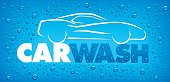 blue car wash design with many water drops