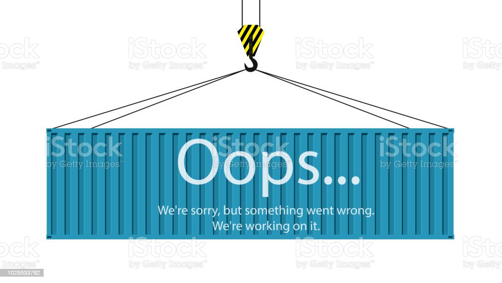 Conteneur bleu accroché sur un crochet de grue - Illustration vectorielle