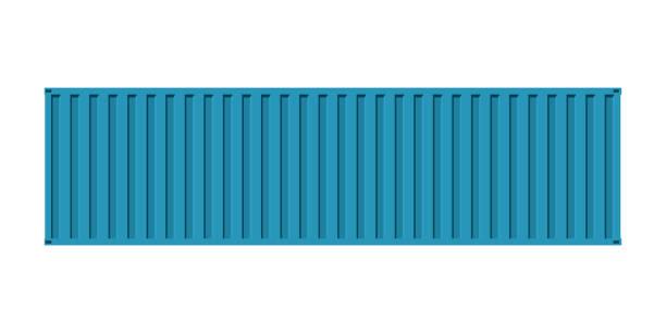 Cargo bleu mer containe, vue de la façade, isolé sur fond blanc - Illustration vectorielle