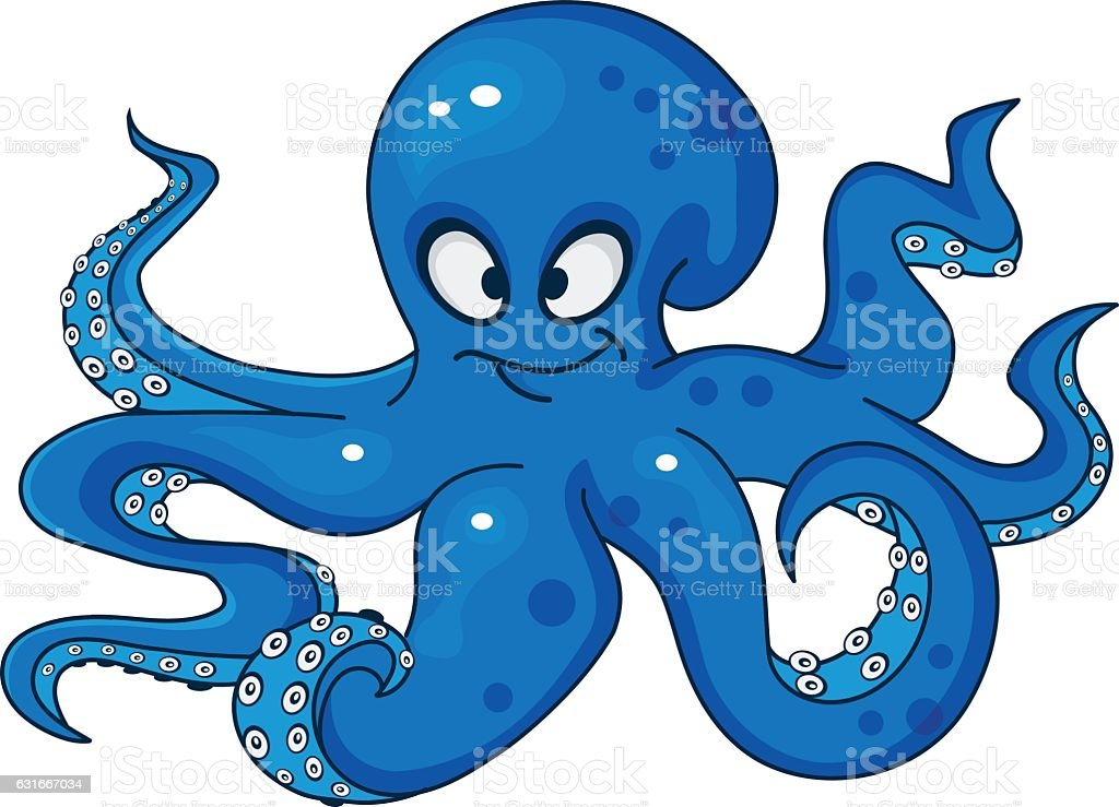 royalty free cartoon of cute blue octopus smiling clip art vector rh istockphoto com clipart octopus gif clipart octopus black and white