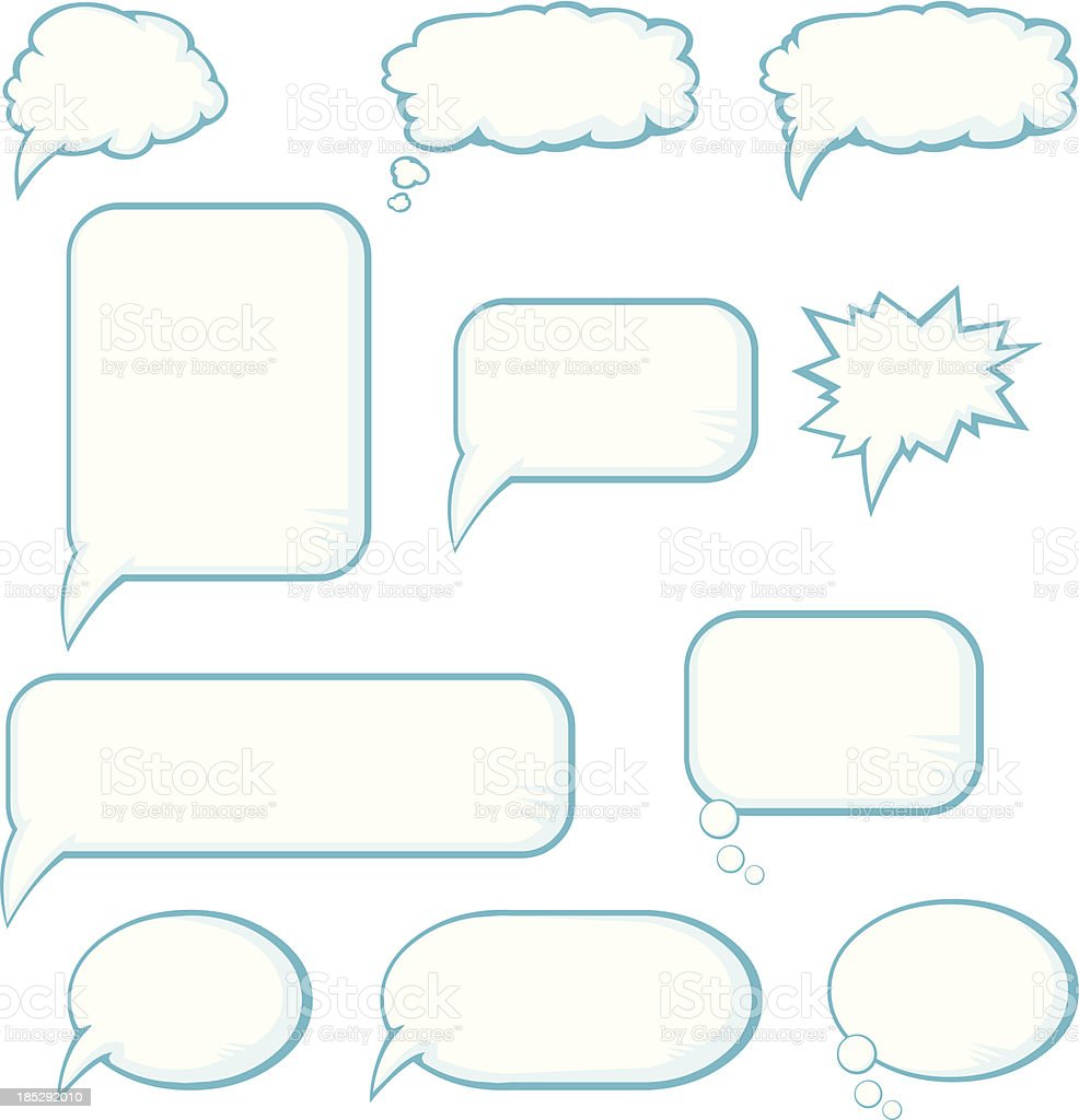 Blue Cartoon Speech and Thought Bubbles royalty-free stock vector art