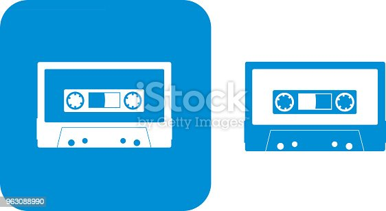 Vector illustration of two blue audio cassette icons.
