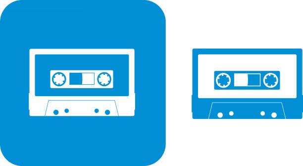 ilustrações, clipart, desenhos animados e ícones de ícones de fita azul - fita cassete