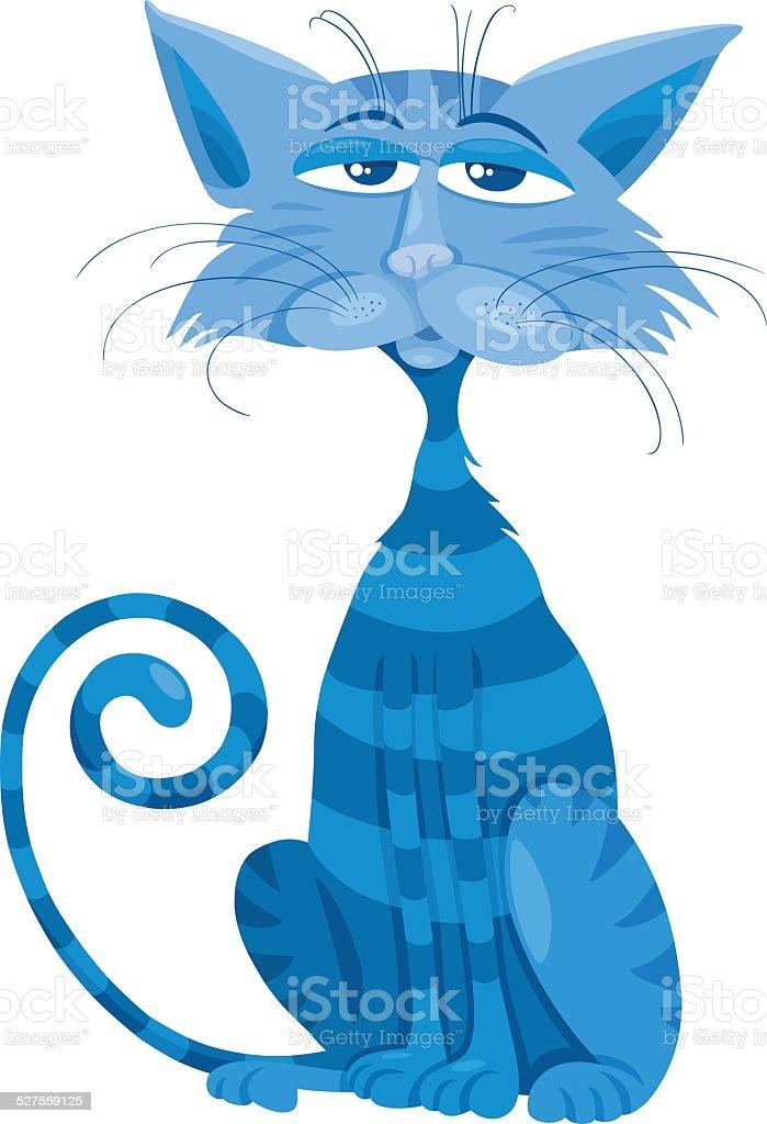 Niebieski Ilustracja Charakter Kreskówka Kot Stockowe Grafiki