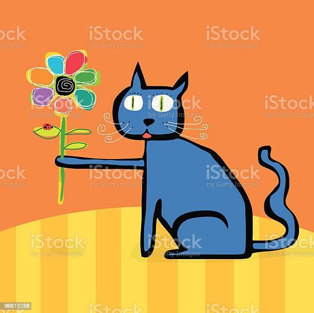 Blue Cat Flower Lady Bug Sitting On Table-vektorgrafik och fler bilder på Blomma