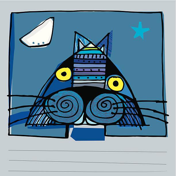 ilustraciones, imágenes clip art, dibujos animados e iconos de stock de gato azul, luna y estrella brillante - tintanegra00